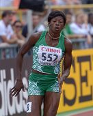 DONETSK, UKRAINE - JULY 13: Adewumi Deborah Adewale of Nigeria competes in semi-final of 200 metres during 8th IAAF World Youth Championships in Donetsk, Ukraine on July 13, 2013