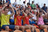 DONETSK, UKRAINE - JULY 13: Spanish fans support their team during 8th IAAF World Youth Championship