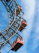 the ferris wheel in vienna, austria-. one of the landmarks of the city poster