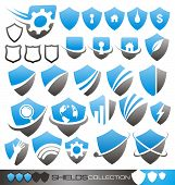 Set of shield symbols and icons