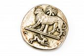 Antique Silver Brooch With Lion And Rabbit