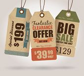 stock photo of cut  - Vintage Style Sale Tags Design - JPG