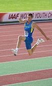 DONETSK, UKRAINE - JULY 12: Pavlo Beznis of Ukraine competes in the triple jump during 8th IAAF Worl