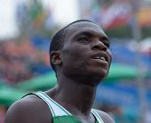 DONETSK, UKRAINE - JULY 12: Ejowvokoghene Divine Oduduru of Nigeria after the heat in 200 metres dur