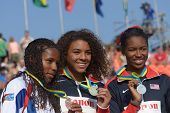 DONETSK, UKRAINE - JULY 12: Westbrook (center), Washington (right), both USA, and Tenorio, Equador are medalists in 100 m during 8th IAAF World Youth Championships in Donetsk, Ukraine on July 12, 2013