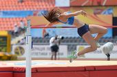 DONETSK, UKRAINE - JULY 12: Maria Huntington of Finland competes in high jump competition in Heptath