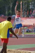 DONETSK, UKRAINE - JULY 12: Pavel Markin of Russia competes in the triple jump during 8th IAAF World Youth Championships in Donetsk, Ukraine on July 12, 2013