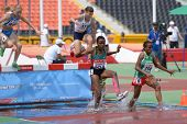 DONETSK, UKRAINE - JULY 12: Girls compete in 2000 m steeplechase during 8th IAAF World Youth Champio