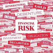 FINANCIAL RISK. Word cloud concept illustration. Graphic tag collection. Wordcloud collage with related tags and terms.