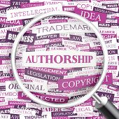 AUTHORSHIP. Concept vector illustration. Word cloud with related tags and terms. Graphic tag collect