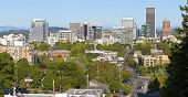 Portland Oregon Skyline Panorama With Mt. Hood.