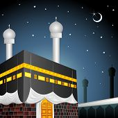 picture of kaaba  - vector illustration of Eid Mubarak  - JPG