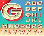 Vector retro alphabet for Summer typography design. Extended bold style. Upper cases