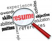 A magnifying glass over the word Resume surrounded by related terms such as experience, awards, skil