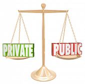 The words Private versus Public on a scale weighing the pros and cons and benefits for sharing information and personal details