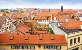 Facades of houses in historic center of Bamberg.