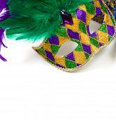 pic of carnivale  - A glittery Mardi gras mask on a white background with copyspace - JPG