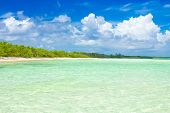 Virgin tropical beach at Coco Key (Cayo Coco) in Cuba (image taken from the water)