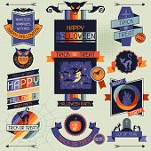 Halloween banners, badges and design elements.