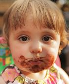 Little girl after eating ice cream