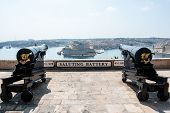 Two Cannons In Saluting Battery On Valletta Castle, Malta