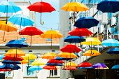 street decoration with colorful  umbrellas Belgrade, Serbia