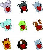 baby animals cartoon valentine animals set