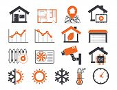 foto of temperature  - Real estate icons set 06 Smart house - JPG