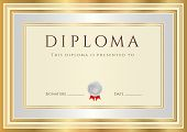 Certificate / Diploma template with silver and gold border