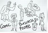 Set Of Sketches Of Comical Cartoons Businessmen