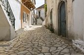 Picturesque alley in a mountain village on Corfu Greece