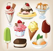 Set of colorful tasty isolated ice cream.