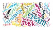Beauty products word cloud