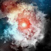 Kosmische Wolken Nebel auf hell farbigen Hintergründen