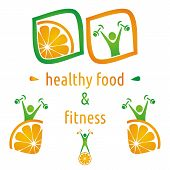 foto of atherosclerosis  - Healthy food and fitness symbols orange and exercising figure - JPG