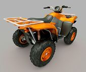 Sports quad bike on a grey background