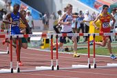 DONETSK, UKRAINE - JULY 11: Boys compete in 110 m hurdles during 8th World Youth Championships in Do