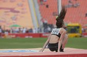 DONETSK, UKRAINE - JULY 11: Eliza McCartney of New Zealand competes in pole vault during 8th IAAF Wo