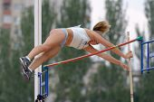 DONETSK, UKRAINE - JULY 11: Leda Kroselj of Slovenia competes in pole vault during 8th IAAF World Yo