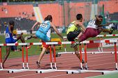 DONETSK, UKRAINE - JULY 11: Boys compete in 110 metres hurdles during 8th World Youth Championships