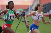 DONETSK, UKRAINE - JULY 11: Anita Hinriksdottir of  Iceland (right) and Dureti Edao of Ethiopia compete in 800 m during 8th IAAF World Youth Championships in Donetsk, Ukraine on July 11, 2013