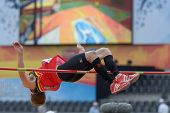 DONETSK, UKRAINE - JULY 11: Tobias Capiau of Belgium competes in high jump in Octathlon during 8th I