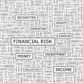 FINANCIAL RISK. Background concept wordcloud illustration. Print concept word cloud. Graphic collage with related tags and terms. Vector illustration.