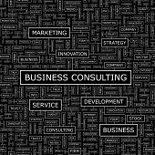 BUSINESS CONSULTING. Word cloud concept illustration. Graphic tag collection. Wordcloud collage with