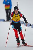 SEEFELD, AUSTRIA - JANUARY 19 Michael Pfeffer of team Austria places 13th in the mixed biathlon rela