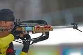 SEEFELD, AUSTRIA - JANUARY 19 Maximilian Janke of team Germany wins the mixed biathlon relay event o