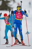 SEEFELD, AUSTRIA - JANUARY 19 Linn Persson of team Sweden places 6th in the mixed biathlon relay eve