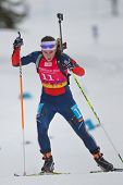 SEEFELD, AUSTRIA - JANUARY 19 Anna Kubek of team USA places 14th in the mixed biathlon relay event o