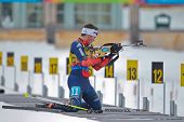 SEEFELD, AUSTRIA - JANUARY 19 Nick Proell of team USA places 14th in the mixed biathlon relay event