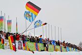 SEEFELD, AUSTRIA - JANUARY 19 German fans at the mixed biathlon relay event on January 19, 2012 in S
